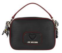 Logo Scarf Smooth Handle Crossbody Bag Nero Tasche