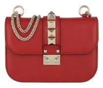 Rockstud Lock Shoulder Bag Small Red Tasche