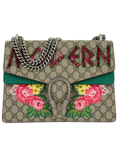 Gucci Damen Dionysus Embroidered Shoulder Bag Beige Tasche grün Für Freies Verschiffen Verkauf Fgy6Dj