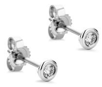 Ohrringe 0.1ct Diamond Stud Solitaire Earring 14KT White Gold