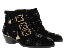 Susanna Short Boots Embroidered Velvet Black Schuhe