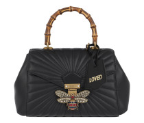 Queen Margaret Quilted Leather Black/Ruby Satchel Bag
