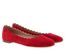 Lauren Ballet Flat Suede Red Flame Ballerinas