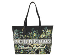 Doodle Flowers Reversible Canvas Tote Black schwarz