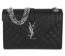 Umhängetasche Monogram Quilted Shoulder Bag Calf Leather Black schwarz