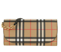 Portemonnaie Rectangular Checked Crossbody Bag Black beige
