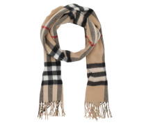 Reversible Metallic Check Cashmere Scarf Camel Schal gold