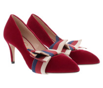 Pumps Velvet With Bow Red