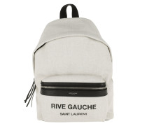 Printed Backpack Leather Grey Rucksack