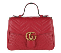 GG Marmont Small Top Handle Bag Hibiscus Red Tasche