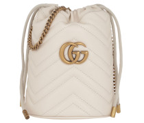 Beuteltasche GG Marmont Mini Bucket Bag Leather White weiß