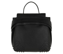 Rucksack Wave Backpack Small Leather Black schwarz