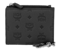 Klara Monogrammed Leather Charm Flap Wallet Mini Black