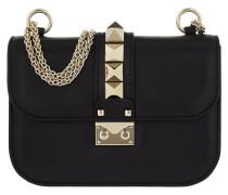 Rockstud Lock Shoulder Bag Small Black Tasche