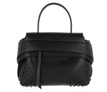 Wave Bag Mini Hammered Leather Black Satchel Bag