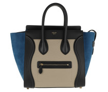 Tote Luggage Tote Bag Leather Blue/Beige bunt