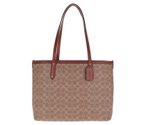Tote Coated Canvas Central Tote Zip Tan Rust braun