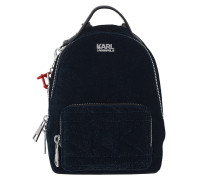 Karl X Kaia Velvet Mini Backpack Navy Rucksack