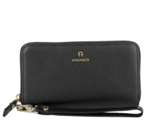 Ivy Zip Around Wallet On A Strap Black