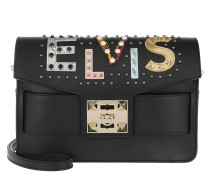Ana Elvis Lettering Shoulder Bag Black