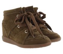 Bobby Suede Wedge Heel Trainers Brown Sneakers