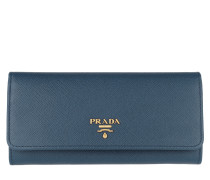Portafoglio Pattina Saffiano Metal Flap Bluette
