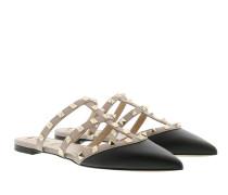 Rockstud Flat Leather Mules Black/Poudre Sandalen