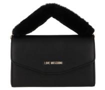 Eco Fur Crossbody Clutch Black Tasche