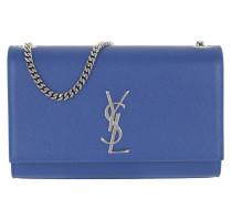 YSL Monogramme Chain Clutch Grain de Poudre Bluette Tasche