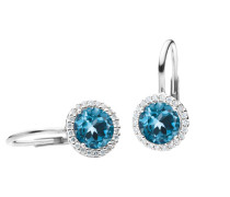 Schmuck Earrings Espressivo Topas London Faceted White Gold blau