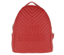 Quilted Logo Backpack Red Rucksack