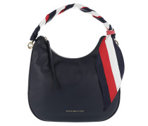 Iconic Foulard Leather SM Hobo Tommy Navy Hobo Bag