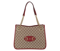 Tote Medium Horsebit Shopping Bag Leather Beige Ebony/Brown Sugar