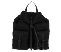 Backpack With Studded Stripes Nylon Black/Black Rucksack