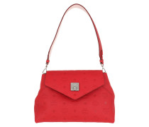 Umhängetasche Essential Monogrammed Leather Crossbody Small Viva Red rot