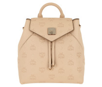 Essential Monogrammed Leather Backpack Small Latte  Rucksack