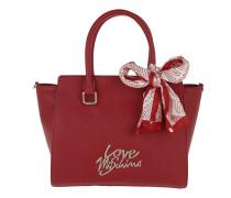 Logo Tote Scarf Saffiano PU Rosso Satchel Bag