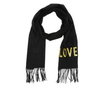 Embroidered Love Scarf Black Accessoire