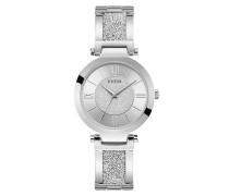 Uhr Women Quartz Watch Aurora Swarovski Crystals Silver