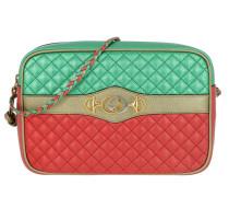 Umhängetasche Small Shoulder Bag Laminated Leather Green/Red bunt