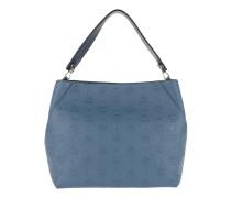 Klara Monogrammed Leather Hobo Medium Luft Blue Hobo Bag