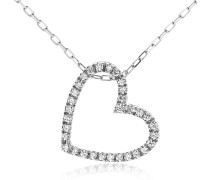 Halskette 0.17ct Diamond Heart Pendant 18KT White Gold