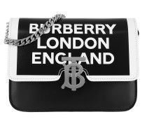 Umhängetasche Logo Shoulder Bag Small Leather Black/White schwarz