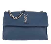 YSL Monogramme Shoulder Bag Grained Calf Leather Denim Tasche