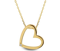 """Halskette Necklace Heart Diamonds """"The Power Woman"""" 14KT Yellow Gold"""