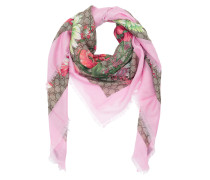 Flowerprint Silk Scarf Beige/Pink Accessoire rosa