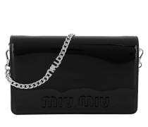 Logo Shoulder Bag Patent Leather Black Tasche