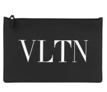 Pochette VLTN Pouchette Leather Black/White schwarz
