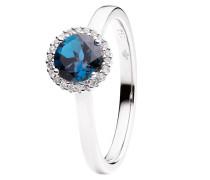 Schmuck Ring Espressivo Topas London Blue Faceted White Gold blau