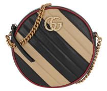 Umhängetasche GG Marmont Mini Round Shoulder Bag Leather Beige/Black schwarz